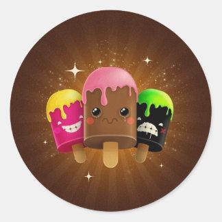 ¡HELADO!! CHOCOLATE, FRESA Y MÁS PEGATINA REDONDA