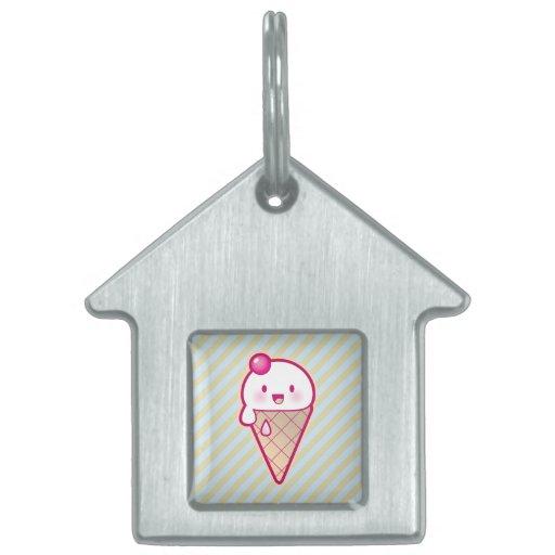 Helado de Kawaii Placa Mascota