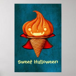 Helado de la calabaza del vampiro de Halloween Poster