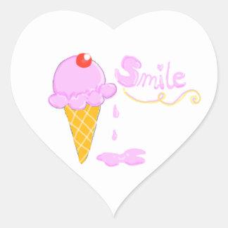 Helado de la sonrisa pegatina en forma de corazón