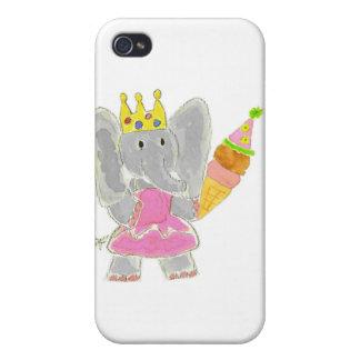 Helado de princesa Elephant Birthday iPhone 4 Cárcasas