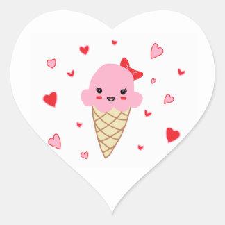 Helado del amor pegatina en forma de corazón