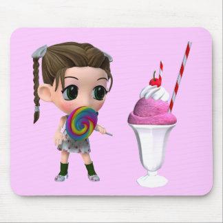 Helado del helado de fresa del chica del Lollipop Alfombrillas De Ratones
