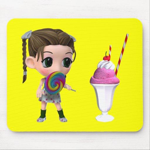 Helado del helado de fresa del chica del Lollipop Tapete De Ratones