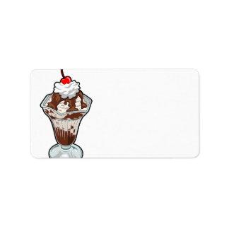 Helado del helado etiquetas de dirección