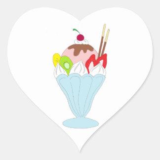 Helado del helado pegatina en forma de corazón