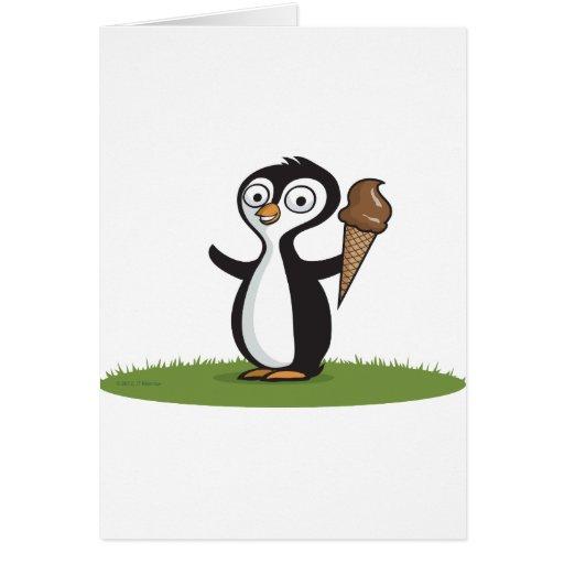 Helado del pingüino tarjeta de felicitación