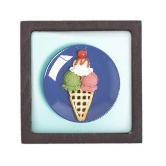 helado delicioso servido en la placa azul caja de recuerdo de calidad