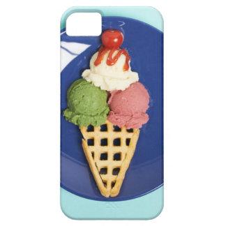 helado delicioso servido en la placa azul iPhone 5 fundas