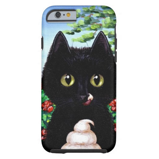 Helado divertido de gato negro Creationarts Funda De iPhone 6 Tough