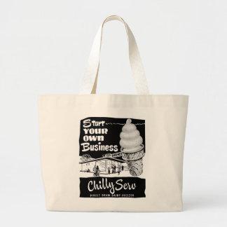 Helado frío del servicio del anuncio del vintage d bolsa tela grande
