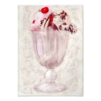"""- Helado - helado dulce del helado Invitación 5"""" X 7"""""""