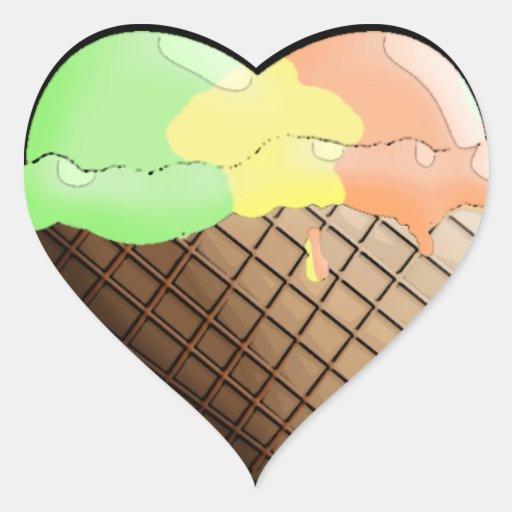 ¡Helado I (del corazón)! Arco iris Sherbert Pegatina En Forma De Corazón