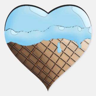 ¡Helado I (del corazón)! Azul del arándano Pegatina En Forma De Corazón