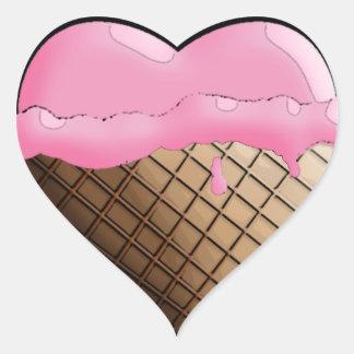 ¡Helado I (del corazón)! Rosa de la fresa Pegatina En Forma De Corazón