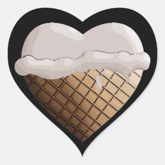 ¡Helado I (del corazón)! Vainilla Pegatina En Forma De Corazón