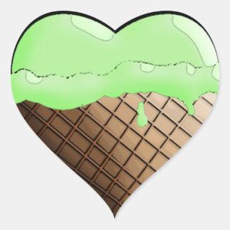 ¡Helado I (del corazón)! Verde lima Pegatina En Forma De Corazón