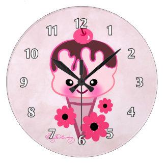 Helado lindo con las margaritas rosadas reloj de pared