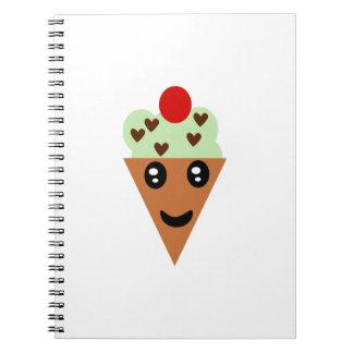 Helado lindo del microprocesador de chocolate de l cuaderno