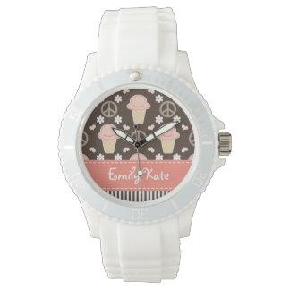 Helado personalizado del amor de la paz relojes de pulsera
