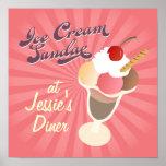 Helado retro del helado del poster del comensal