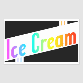 helado retro pegatina rectangular