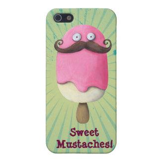 Helado rosado con los bigotes iPhone 5 carcasas