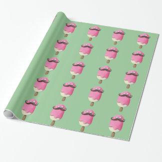 Helado rosado con los bigotes papel de regalo