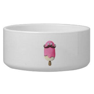 Helado rosado con los bigotes tazones para perrros