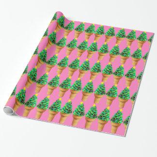 Helado rosado moderno lindo del árbol de navidad papel de regalo