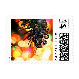 Helado sobre luces de navidad timbres postales