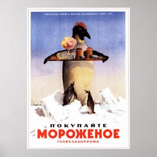 Helado soviético de URSS que hace publicidad de 19 Impresiones
