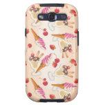 Helado y fresas de Kawaï Galaxy S3 Cárcasa