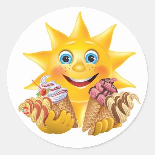 Helado y Sun feliz - SRF Etiquetas Redondas