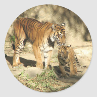 Helaine's Tiger and Cub Classic Round Sticker