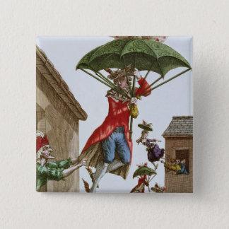 Held Aloft by Umbrellas and Butterflies Button