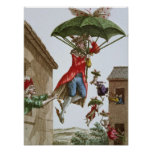 Held Aloft by Umbrellas and Butterflies Poster