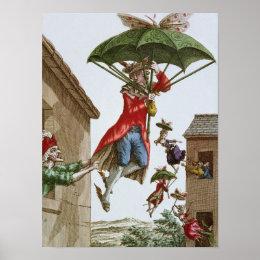 Held Aloft by Umbrellas and Butterflies Poster