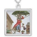Held Aloft by Umbrellas and Butterflies Silver Plated Necklace