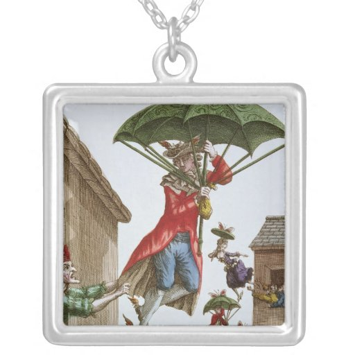 Held Aloft by Umbrellas and Butterflies Square Pendant Necklace