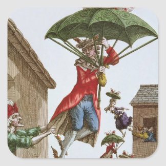 Held Aloft by Umbrellas and Butterflies Square Stickers