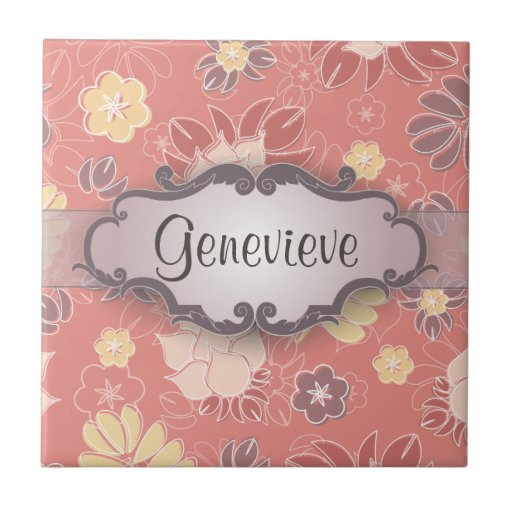 Helecho floral en rosa con el letrero azulejo cuadrado pequeño