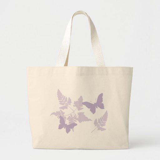 Helechos púrpuras de la lavanda de las mariposas bolsas de mano