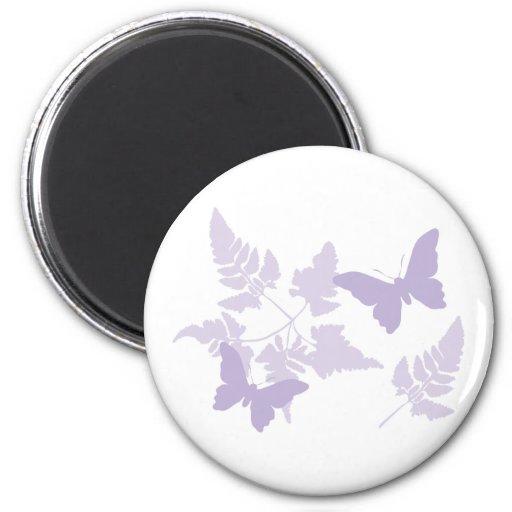Helechos púrpuras de la lavanda de las mariposas imán de frigorifico