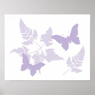 Helechos púrpuras de la lavanda de las mariposas póster