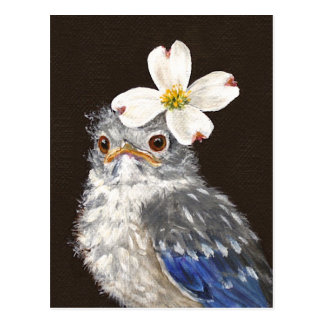 Helen baby bluebird with dogwood postcard