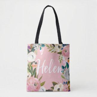 Helen Custom Brushed Floral Wedding Party Pink Tote Bag