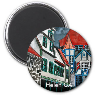 Helen GA vacation paradise German town Georgia art 2 Inch Round Magnet