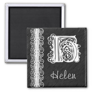 Helen H Monogram White Lace on Black Magnet