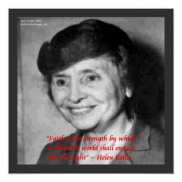 Helen Keller Faith Wisdom Quote Poster